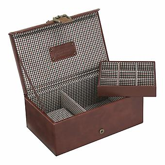 Brown Check Watch & Cufflink Box