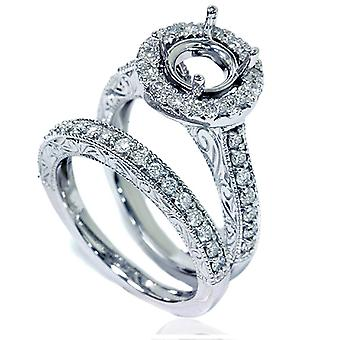 1ct Vintage Engagement Ring Set Semi Mount 14K White Gold