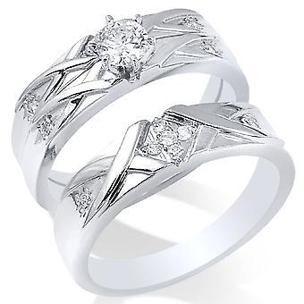 3/8ct Diamond Engagement Wedding Ring Set 14K White Gold