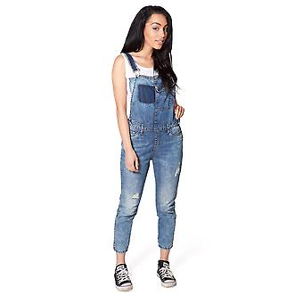 Womens Distressed Denim Dungarees Ladies Bib Overalls UK 6