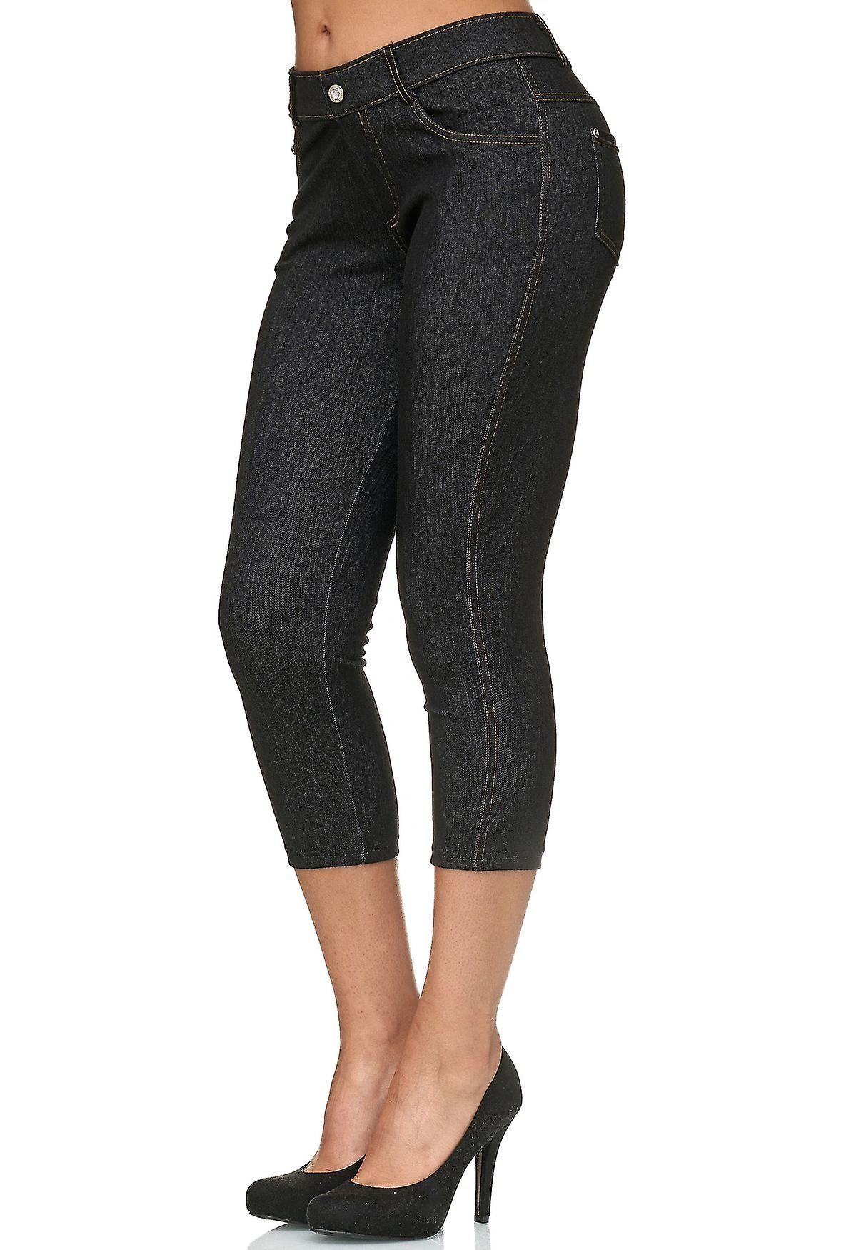 Damen Capri Hose Skinny Jeggings Hüfthose Jeans Treggings Strasssteine Push Up