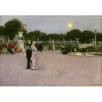 The Luxembourg Gardens at Twilight, John Singer Sargent, 40x60cm with tray