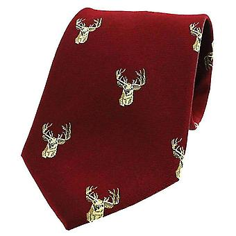 David Van Hagen Stags Heads Woven Country Silk Tie - Wine