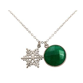 Gemshine - ladies - necklace - pendants - snowflake - 925 Silver - emerald - green - 45 cm