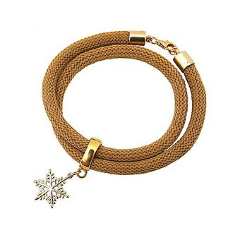 Brown - snowflake - gold-plated ladies bracelet - wrap bracelet - 925 Silver-
