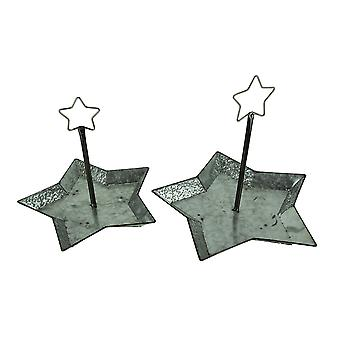 Rustic Metal Star Serving Tray Set of 2