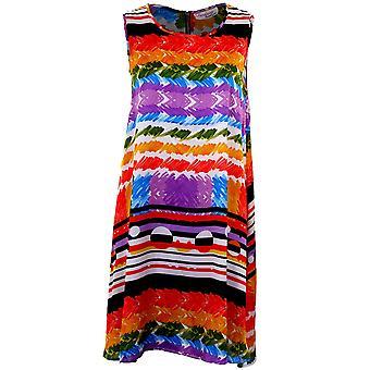 Damen ärmelloses a-Linie Shift Stripe multicolor Print Damen Party Kleid Dress