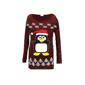 Children's Long Sleeve Christmas Penguin Sparkle Glitter Kid's Warm Jumper Top