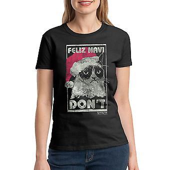 Grumpy Cat Feliz Navi Don?t Women's Black T-shirt