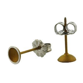 Ti2 Titanium Tiny Dome Stud Earrings - Tan Beige