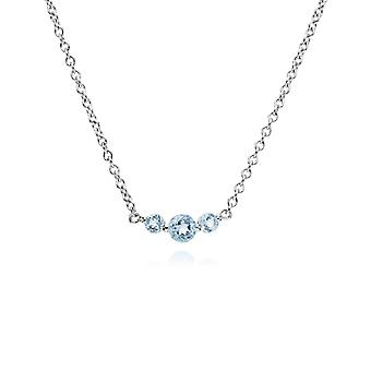 Gemondo Sterlingsilber drei Stein blau Topas runden Farbverlauf 45cm Halskette