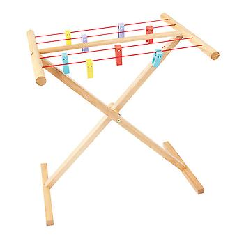 Bigjigs Toys Wooden Children's Pretend Play Clothes Airer Roleplay Kids
