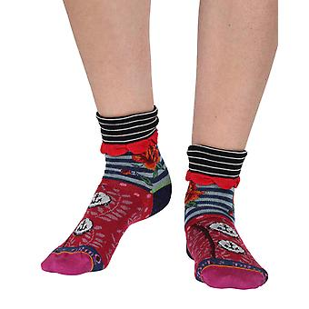 Roses women's cotton turn-over crew socks in purple | Dub & Drino