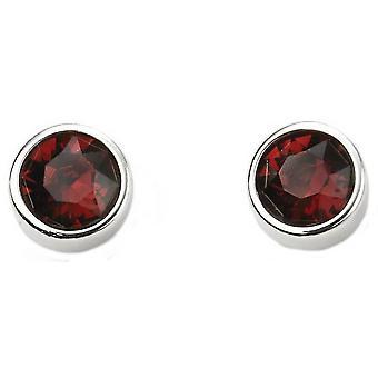 Beginnings January Swarovski Birthstone Earrings - Silver/Burgundy