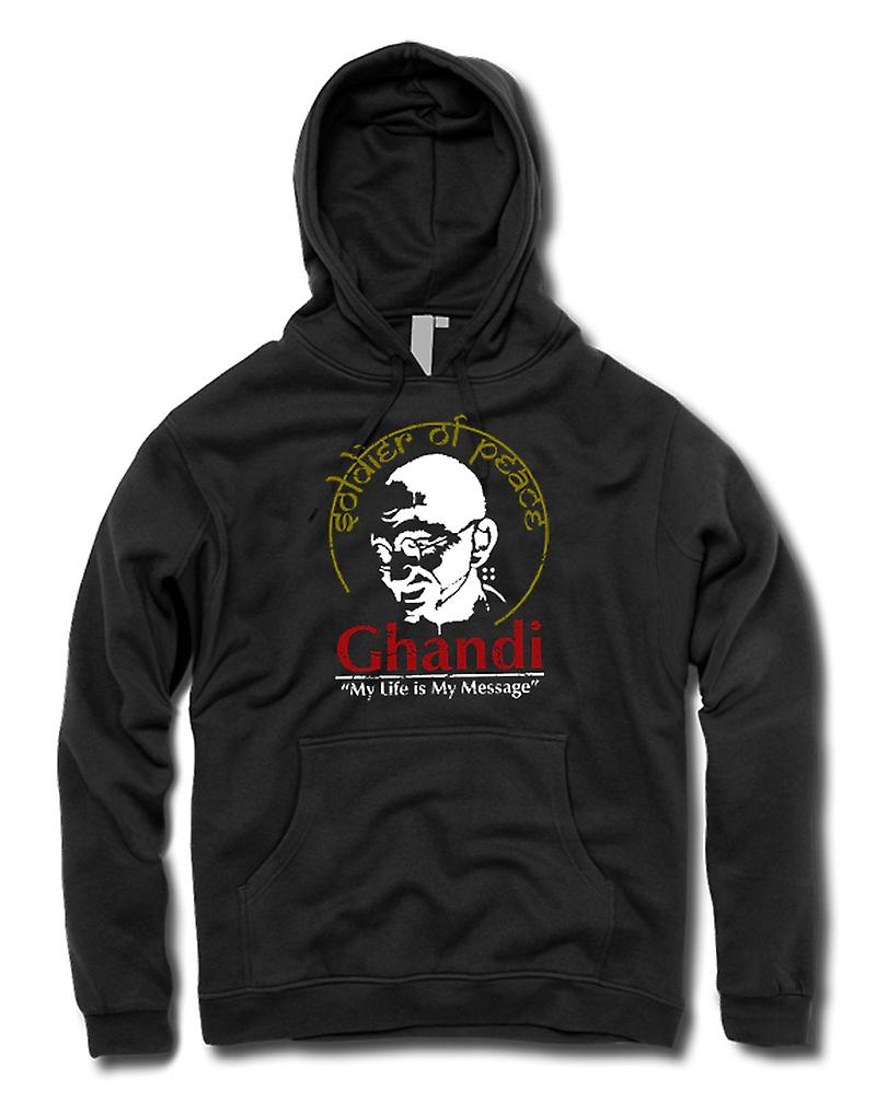 Mens Hoodie - Ghandi My Life Is My Message - India - Freedom