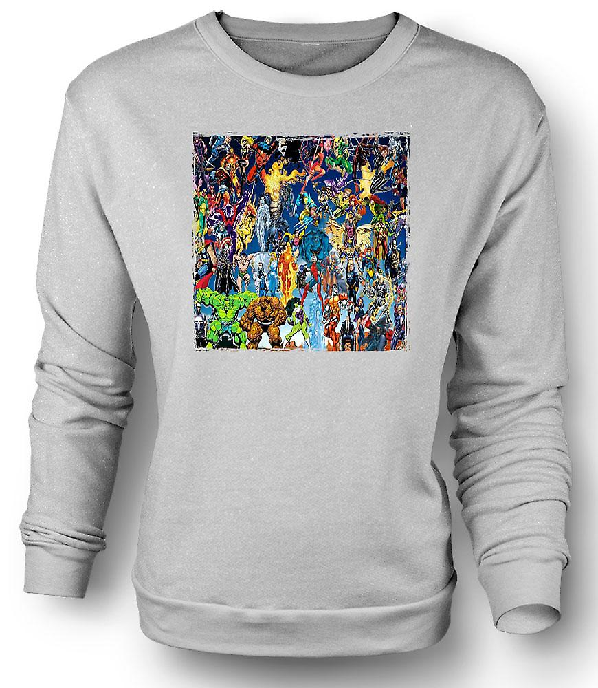 Mens Sweatshirt Marvel Comic Super Hero - Collage