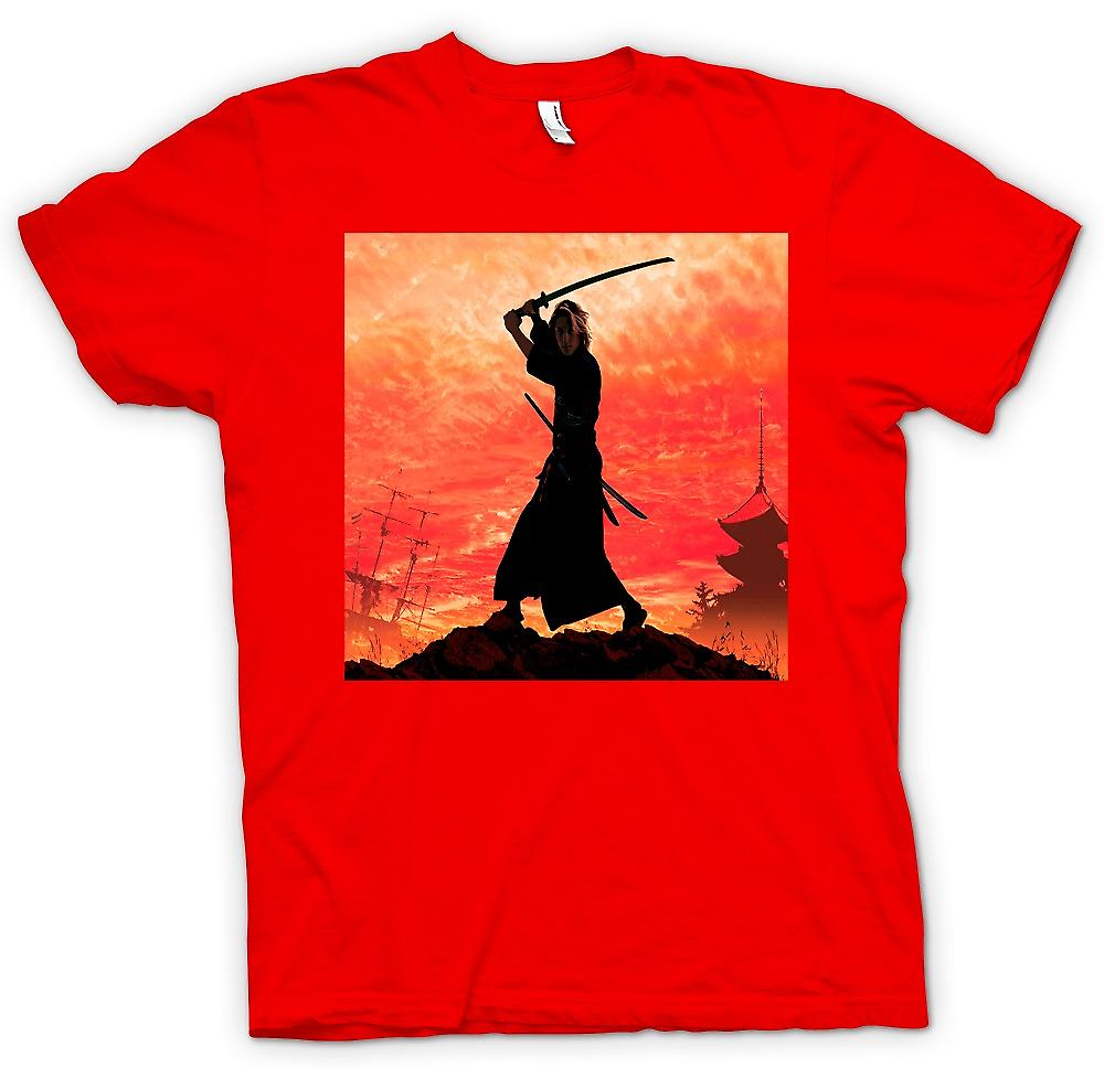 Herr T-shirt-Samurai Fighter