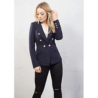Estilo militar adaptado Blazer jaqueta azul-marinho