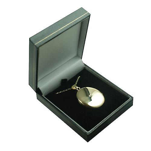 9ct Gold 35x26mm plain oval Locket with a belcher chain