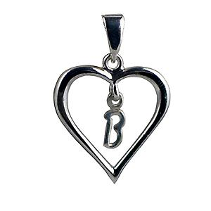 Silver heart Pendant with a hanging Initial B