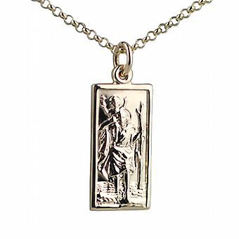 9ct Gold 26x13mm rectangular St Christopher Pendant with belcher Chain 24 inches