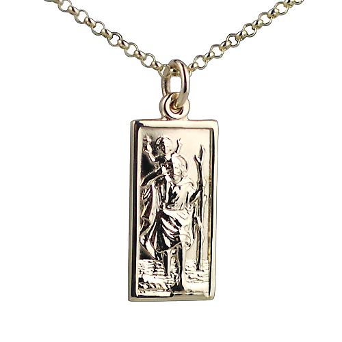 9ct Gold 26x13mm rectangular St Christopher with Belcher chain