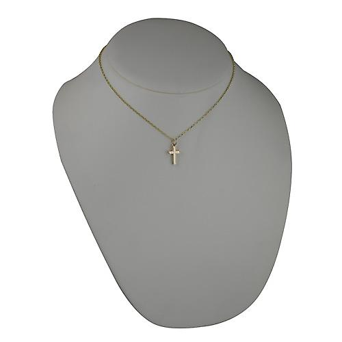 9ct Gold 17x10mm line border block Cross with Belcher chain
