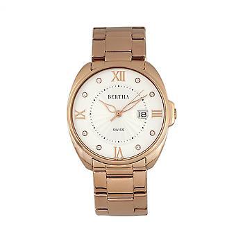 Bertha Amelia Bracelet Watch w/Date - Rose Gold