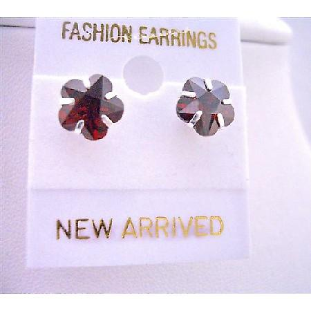 Burnt Orange Cubic Zircon Flower Shaped 8mm Stud Affordable Earrings