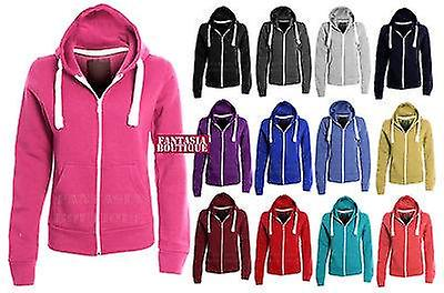 New Ladies Hoodie Plain Solid One Colour Hooded Zip Top Pocket Sweatshirt Women