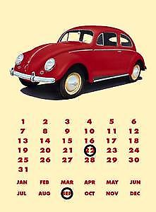 VW Volkswagen Beetle metal sign / everlasting calendar    (fd)