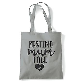 Resting Mum Face Funny Tote | Reusable Shopping Cotton Canvas Long Handled Natural Shopper Eco-Friendly Fashion | Gym Book Bag Birthday Present Gift Her | Multiple Colours Available