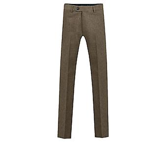 Dobell Mens Oatmeal Donegal Tweed Trousers Regular Fit