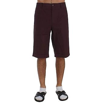 Dolce & Gabbana Bordeaux Cotton Knee High Shorts -- SIG5809776