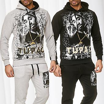 Mens jogging suit tracksuit sweat set hooded jacket pants Hip Hop Shakur Print