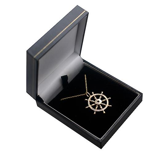 9ct Gold 28mm solid Ships Wheel Pendant with a cable Chain 16 inches Only Suitable for Children