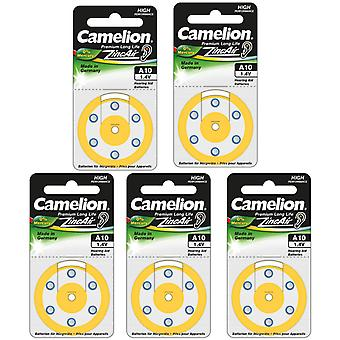 30-Pack Camelion Hörgeräte Batterietyp 10, gelb