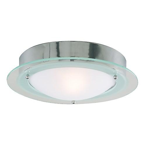 Searchlight 3108CC Modern Flush Bathroom Light Marble Effect Glass With Glass Trim