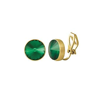 Eternal Collection Treasure Emerald Green Crystal Gold Tone Stud Clip On Earrings
