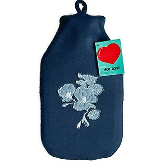Navy Blue Fleece Floral Applique 1.8ml Hot Water Bottle & Cover