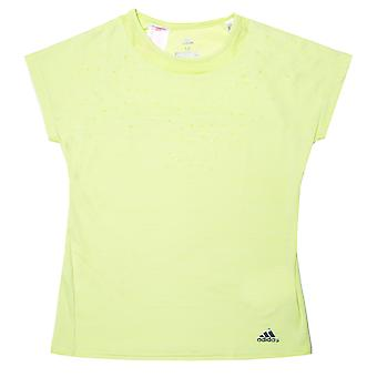 Junior Girls adidas Dotty T-Shirt In Yellow- Cap Sleeves- Ribbed Collar- Crew