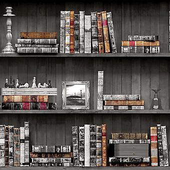 Holden decor Holden vintage bok tilfelle mønster bakgrunn faux effekt tre hylle bibliotek 11951