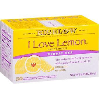 Bigelow Me encanta limón herbal té 20 bolsa de té caja