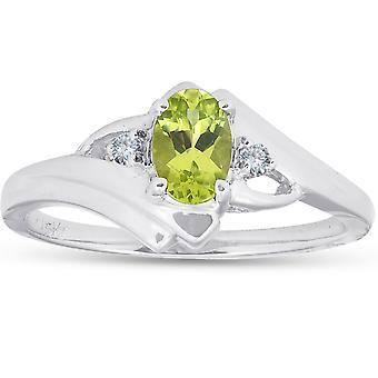 5 / 8ct ovalen Peridot & Diamant-Ring 14K White Gold
