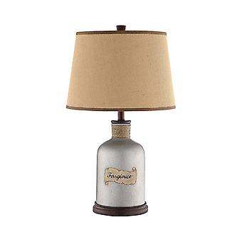 Grey, brown ferrgi table lamp in antique mercury glass and ferrgiouse print with burlap fabric hardback shade stein world