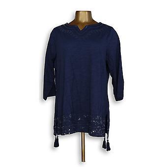 Denim & Co. Women's Top Essentials Perfect Jersey Blue A213779