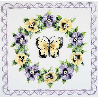 Pansy Couronne Quilt Blocks estampillés Cross Stitch 18 « X 18 » 6 Pkg 1332 21