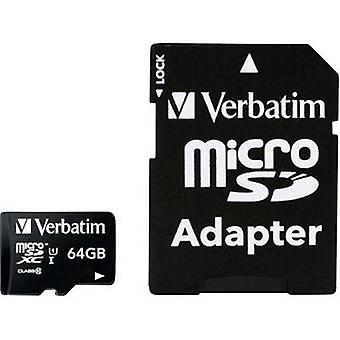 microSDXC card 64 GB Verbatim MICRO SDXC 64GB CL 10 ADAP Class 10 incl. SD adapter