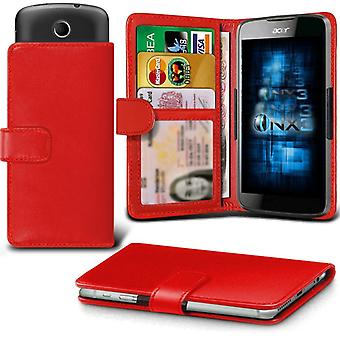 ONX3 Acer Liquid Z410 Leather Universal Spring Clamp Wallet Case With Card Slot Holder and Banknotes Pocket-Red