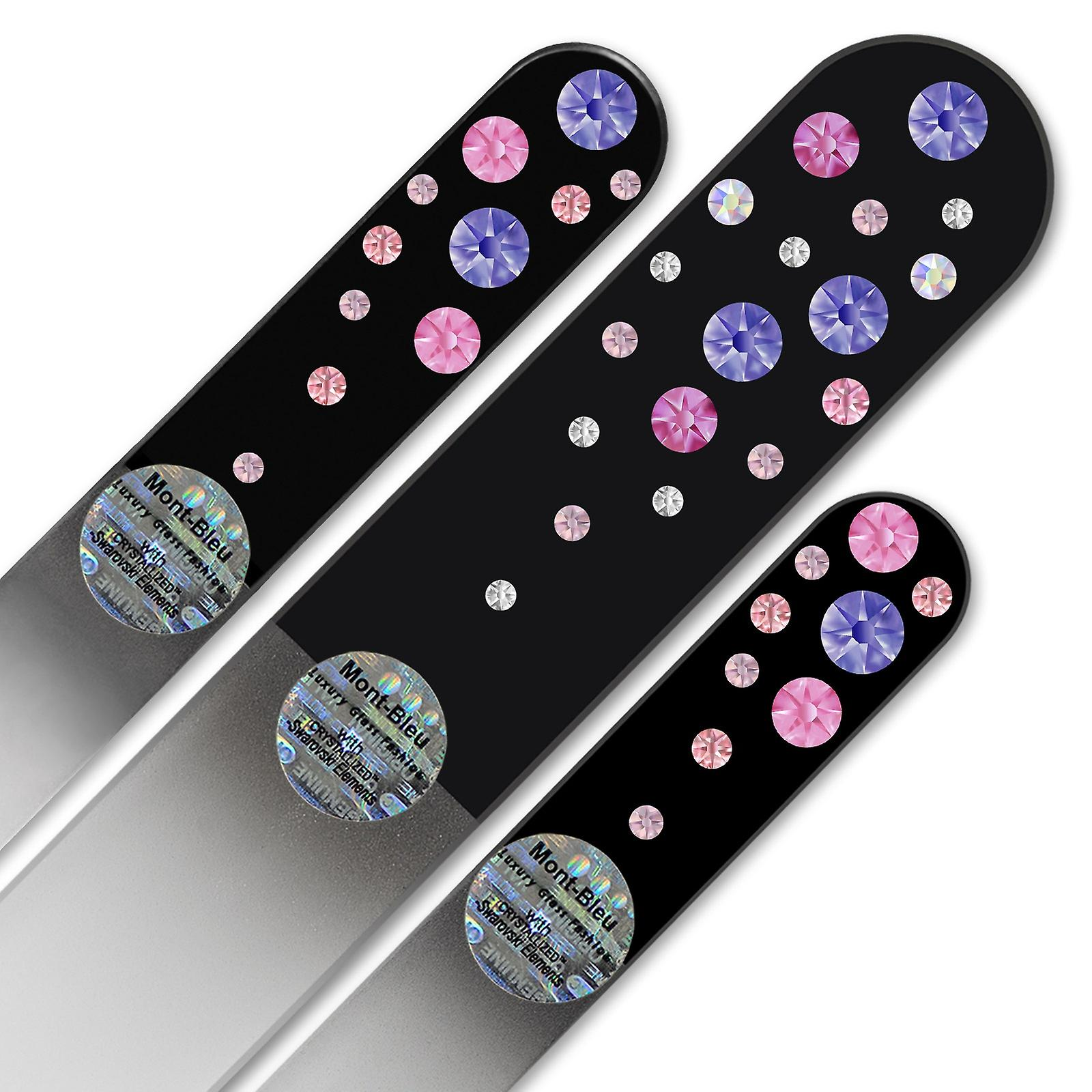 Set of 3 Black Crystal Nail Files with crystals WB-BMS